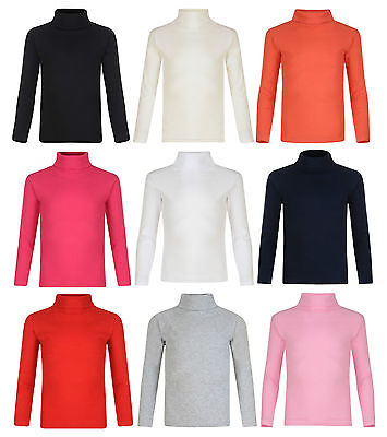 Kids Boys Girls Polo Neck Ribbed Jumper Top Turtle Roll Neck 3-14 Years New