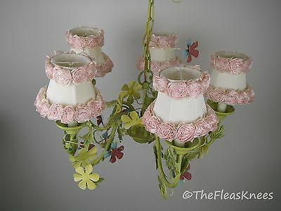 """Vintage Shabby Chic Tole Chandelier Large 22"""" Diameter x 14"""" High"""