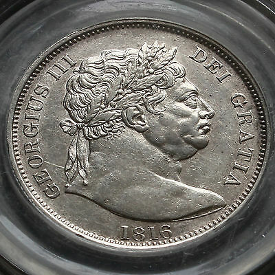 1816 George III Milled Silver 'Bull Head' Half Crown – Rare Variety