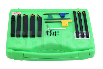 "Shars 1/2"" x 1/2"" x 3.5"" Turning Tool Holder & 3/8"" x 5"" Boring Bar 9pcs Set New"