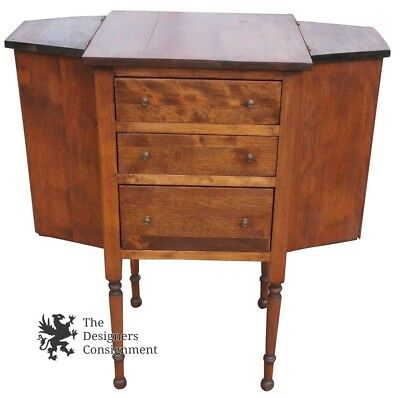 Early American Antique Walnut 3 Drawer Sewing Cabinet Spool Chest Lidded Top