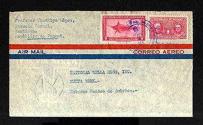 7052-PANAMA-AIRMAIL COVER SANTIAGO to NEW YORK (usa)1946.WWII.aerien.