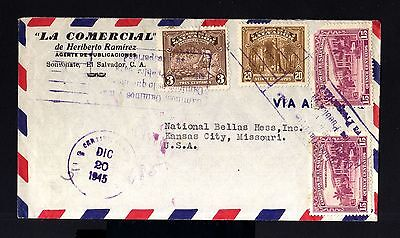 7056-EL SALVADOR-AIRMAIL COVER SONSONATE to KANSAS (usa)1945.WWII.Enveloppe.