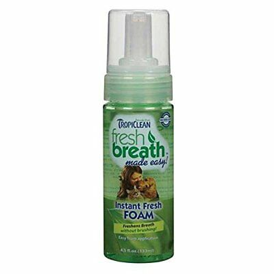 TropiClean Fresh Breath Instant Foam All Natural Dental Care Cats Dogs Mint 4.5z