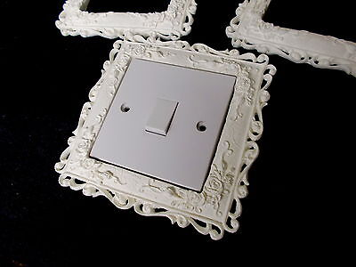 one ornate roses and scrolls lightswitch surround white resin