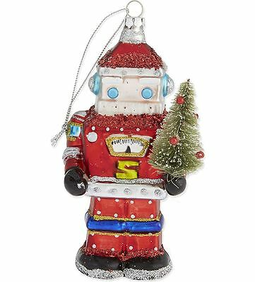 Gisela Graham Glass Robot Santa Claus Christmas Xmas Tree Decoration Collectable