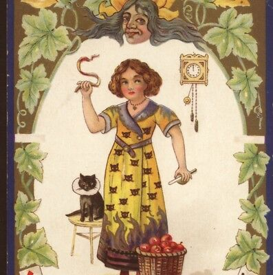 Halloween Superstitions...apple Peel,fortune Telling Playing Cards,nash Postcard
