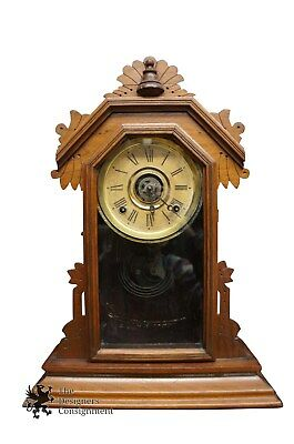 Antique Ingram & Co. Carved Walnut Mantel Clock Bristol Connecticut Table Accent