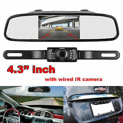 """Auto 4.3"""" Rear View Mirror Monitor Dual Screen With 2XBackup Rear View Cameras"""