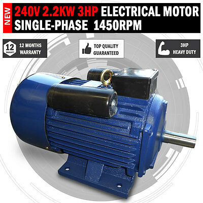 NEW 240v 2.2kw 3hp Electric Motor Single Phase 1450 RPM