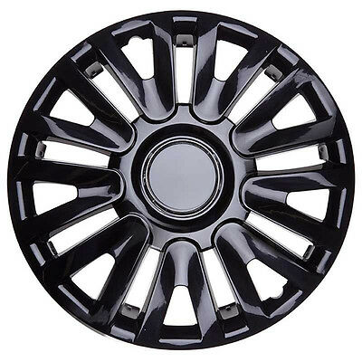 TopTech Momentum 15 Inch Boxed Wheel Trim Set of 4 Black Gloss Hub Caps Covers