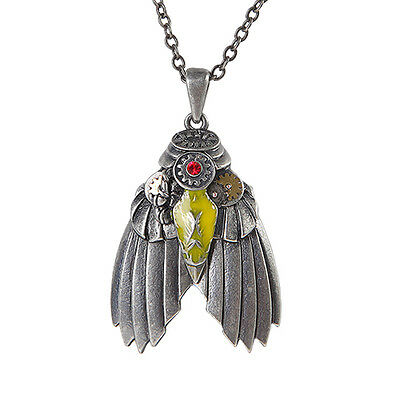 STEAMPUNK BUG Necklace Gearwork Pendant steam punk moth winged insect