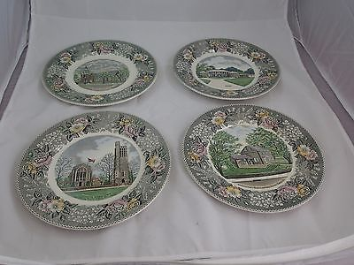 """OLD ENGLISH STAFFORDSHIRE WARE by ADAMS POTTERY FOUR 10"""" PLATES JONROTH"""