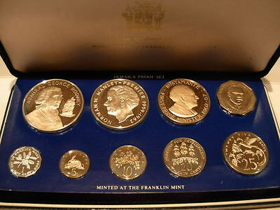 Jamaica 1977 Full 9 Coin Proof Set with 2 Silver Coins