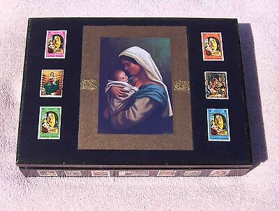 Hand-Decorated Decoupage Mary and Jesus Postage Stamp Wooden Box