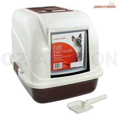Paws N Claws Hooded Cat Pet Toilet Box Carrier Litter Tray with Door Flap Scoop