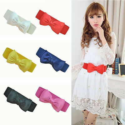 Fashion Womens Bowknot Elastic Wide Stretch Buckle Waistband Dress Waist Belt