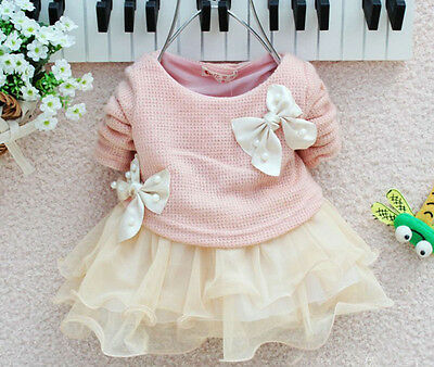 Baby Girls Long Sleeve Knitted With Bow Infants Newborn Pink Tutu Princess Dress