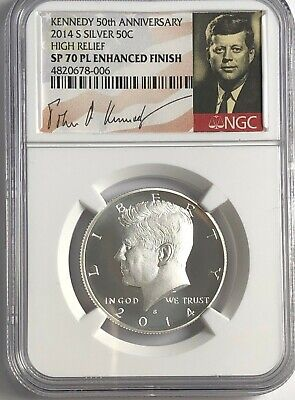 2014 S Silver Enhanced Kennedy Half Ngc Sp70 Pl 50Th Ann Proof Like Signature Lb