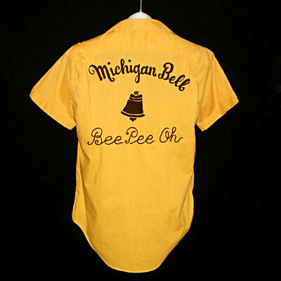 Vintage MICHIGAN BELL TELEPHONE BeePeeOh Don Carter Bowling Shirt 1960s S
