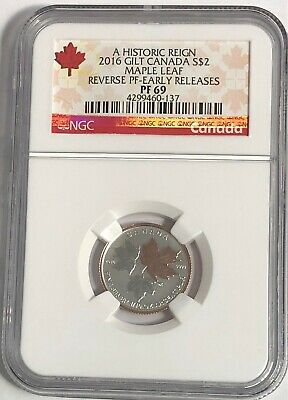 2016 $2 Canada Silver Maple Leaf Gilt Ngc Pf69 Ucam Reverse Proof 1/10 Oz Pr69