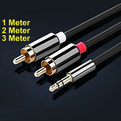 1m 2m 3m 3.5mm Mini Stereo Jack to 2 x RCA Twin Phono Cable Lead GOLD PC TV Aux