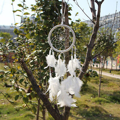 White Dream Catcher Circular With feathers Hanging Decoration Craft Gift