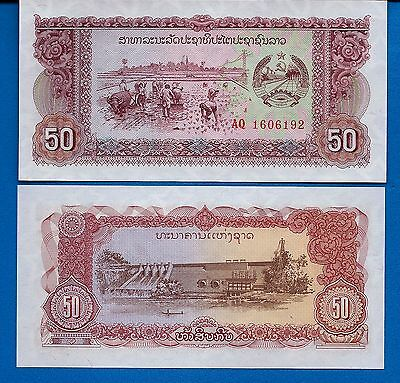 Laos P-29 50 Kip ND 1979  Rice Planting Uncirculated Banknote Asia