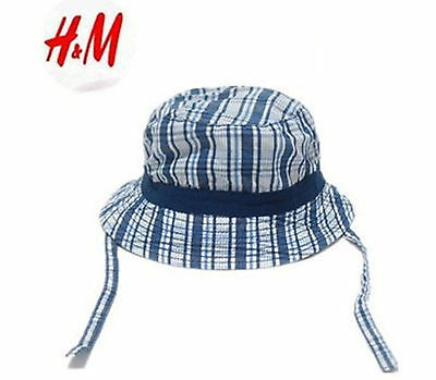 Boys kids Baby Child Beach Travel Cotton Check Bucket Sun Hat Cap with strap 0-1