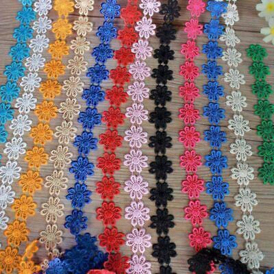 New DIY Decorated Lace Trim Sewing Embroidered Daisy Flower Applique Costume 1yd