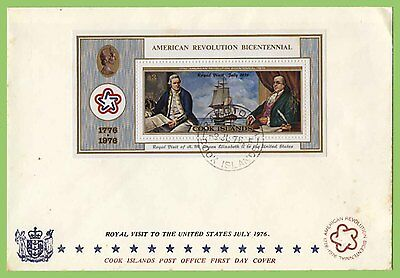 Cook Islands 1976 Cook/Franklin Bi Centennial M/s on First Day Cover