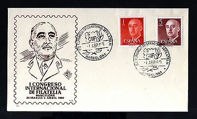 7107-Spain-España-1º Congreso Int.philatelic Cover Barcelona.1960.franco.fnmt-B.