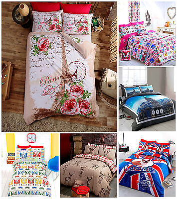 Duvet Cover Bedding Set Poly Cotton Single Double King with Pillowcases All Size