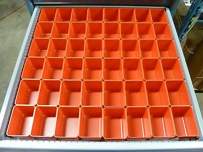 "48 3""x4""x3"" deep Red Plastic Box Lista Vidmar Toolbox Organizer Cups Drawer bins"