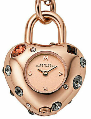 Marc Jacobs Rose Gold Dexter Glitz Bauble+Crystals+Chain Watch Necklace-Mbm7052