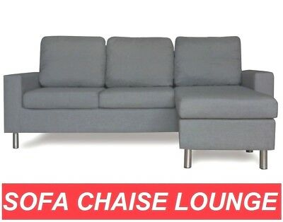 611 Grey Linen Fabric Sofa Couch Lounge Corner Suite Chaise Set Modular