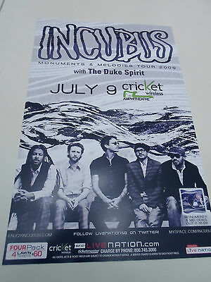 "Incubus Concert Poster Monuments & Melodies San Diego Cricket Wireless 11""x17"""