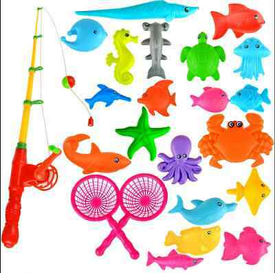 Cool Magnetic Fishing Rod +10 Kinds Fish Model Bath Fun Toy for Baby Child Kids