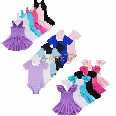 Girls Gymnastics Ballet Dance Dress Toddler Kids Leotard Tutu Dancewear Costume