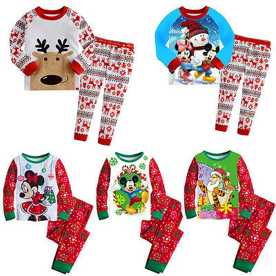 Cute Long Sleeve Baby Boys Girls Mickey Reindeer Sleepwear Nightwear Pajamas Set