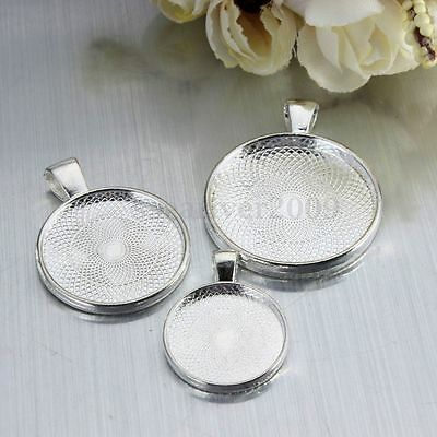 5/10/20x Silver Pendant Trays for Photo Frame Cameo Cabochon Base Setting 3 Size