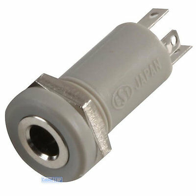 3.5mm Mini Stereo Jack Chassis 4 POLE 4P Panel Mount Input Socket Connector Grey