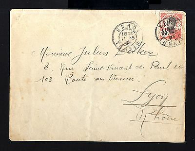 7266-INDOCHINA-OLD COVER HANOI to LYON (france)1915.French colonies.INDOCHINE.