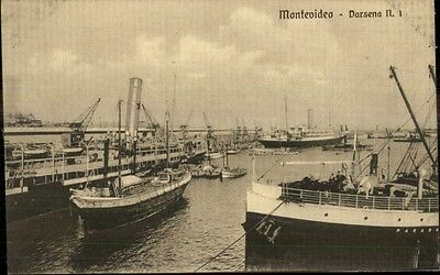 Montevideo Harbor & Ships c1910 Postcard