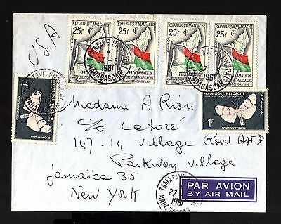 7271-MADAGASCAR-AIRMAIL COVER TAMATAVE to NEW YORK (usa)1961.French Colonies.
