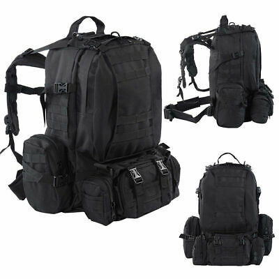 New 55L Outdoor Military Tactical Backpack Rucksack Camping Bag Hiking Black