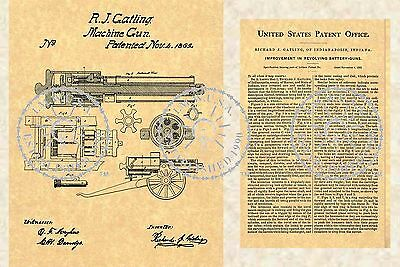 US Patent for the GATLING MACHINE GUN Issued in 1862 - Civil War Military PM#897