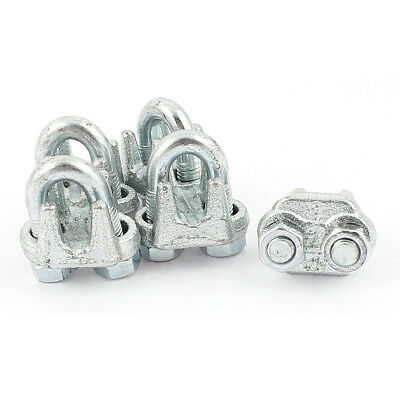9mm U-Bolt Metal Wire Rope Cable Clamps Clips Silver Tone 5Pcs
