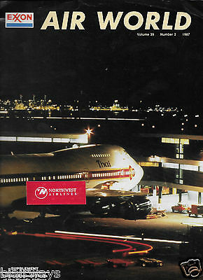 Exxo Air World 2/87 Magazine Thai Airways 747 At Night Cover/backside -Charter