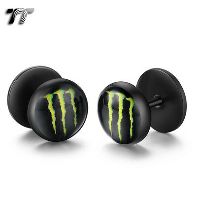 TT Clear Epoxy Black Stainless Steel Green Stripe Fake Ear Plug Earrings (BD10)